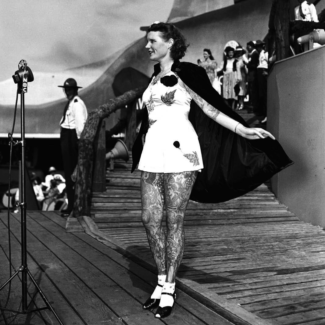 Бетти Бродбент, Betty Broadbent, винтажные татуировки, девушки с татуировками, циркачка с татуировками, олдскул татуировки