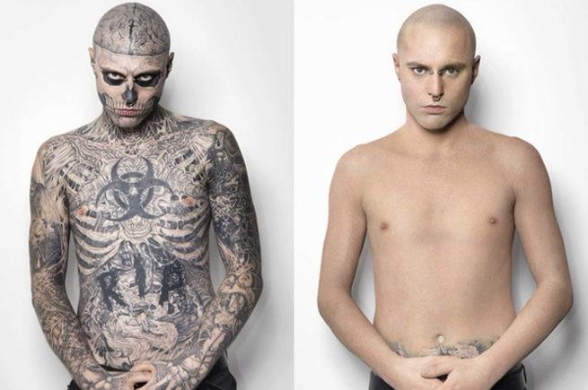 зомби бой без татуировок, рик дженест, тональный крем, DermaBlend