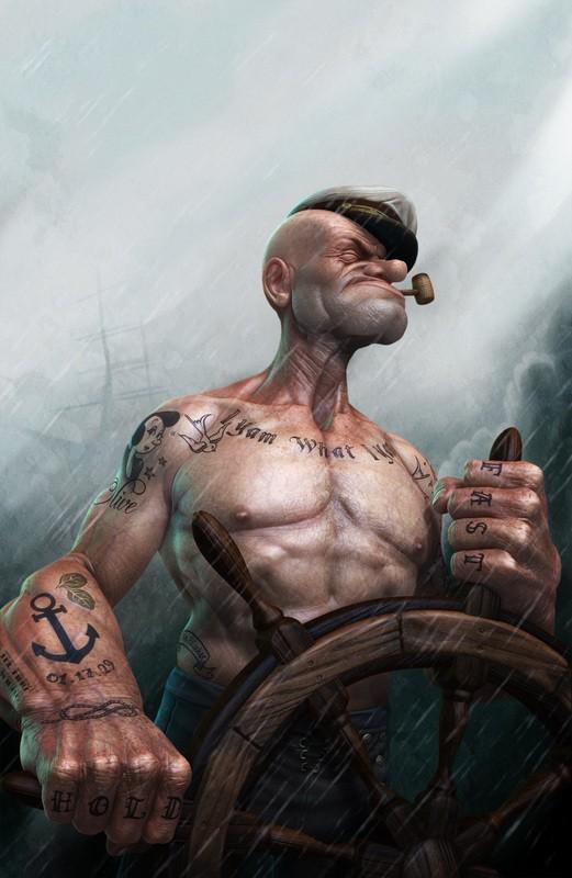 моряк папай в 3d с татуировками