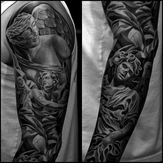 черно-белые татуировки, Jun Cha, Лос-Анджелес, тату-мастер