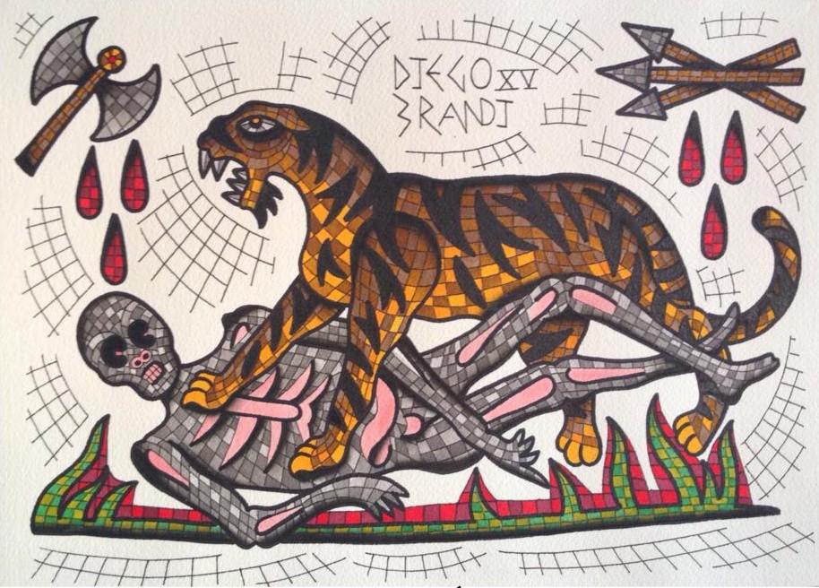 римская мозаика и эскизы татуировок