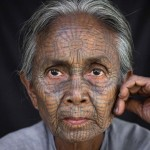 Татуированные лица женщин Мьянма