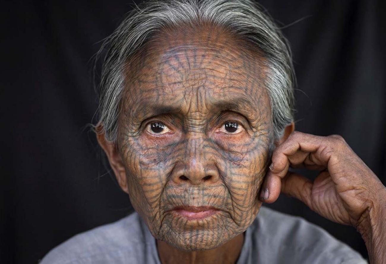 Eric Lafforgue, татуированные лица женщин Мьянма