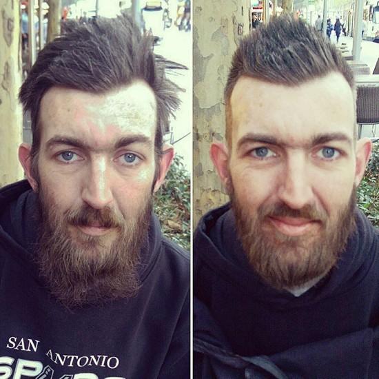 бомж Мельбурна после услуг уличного парикмахера (Nasir Sobhani)