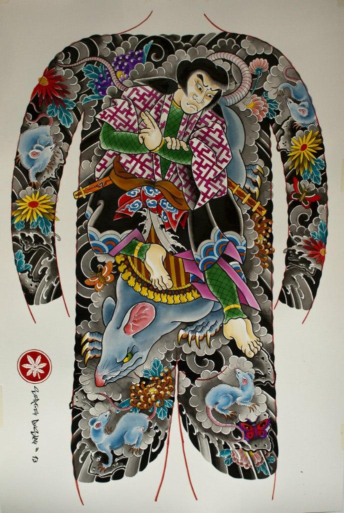 Сергей Буслаев (костюм, японская татуировка)