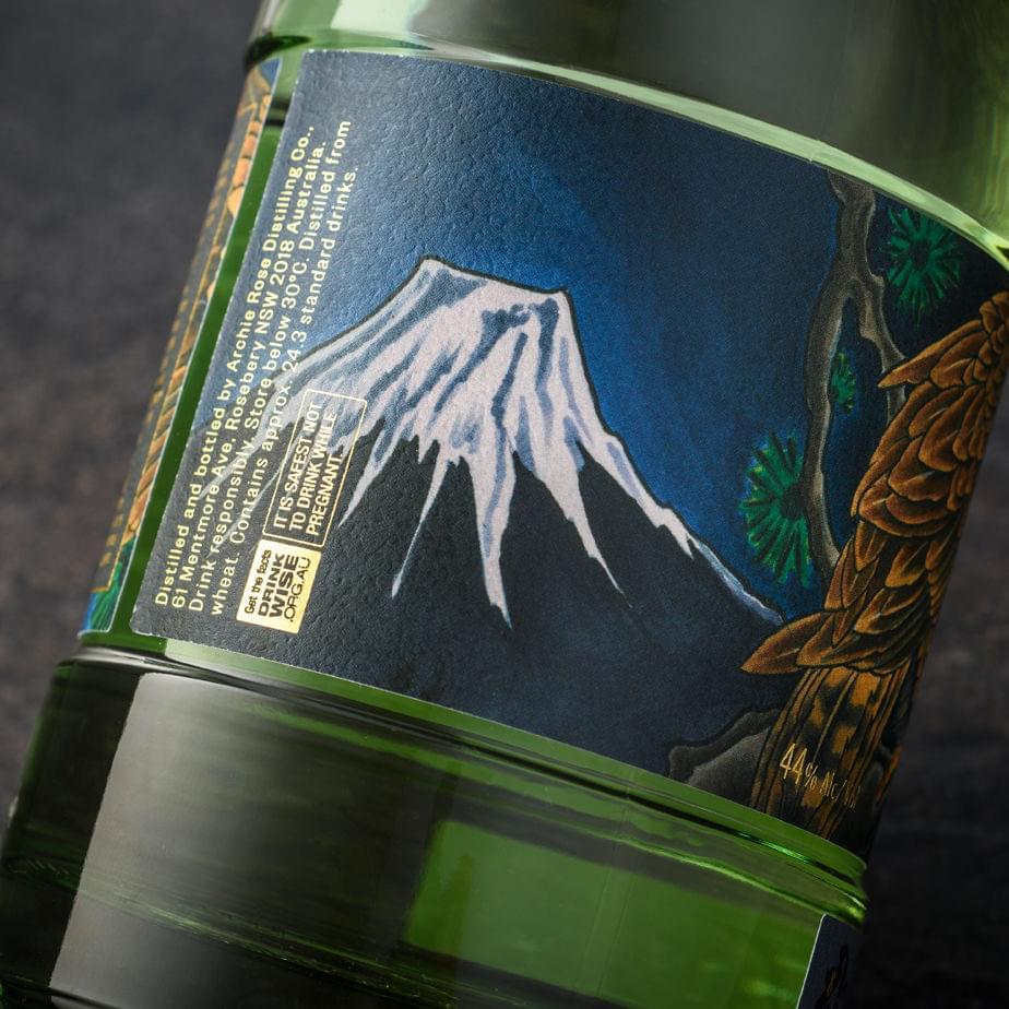 зима, Archie Rose, джин, Фудзи, ястреб, зеленый чай, полная луна, ветви сосны