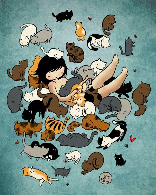 Стася Баррингтон, татуировка, котики, Etsy, иллюстрации