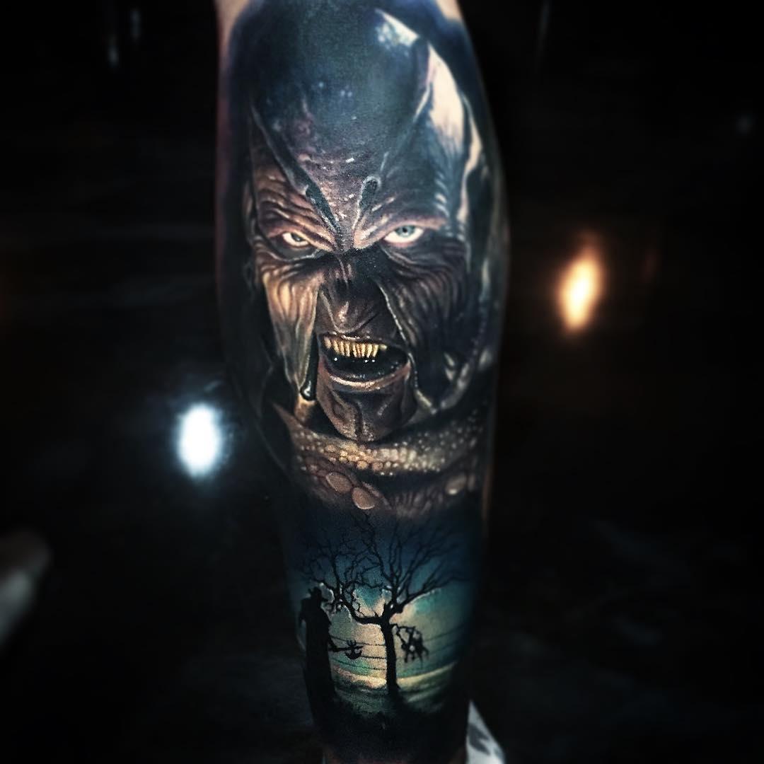 пол эйкер, хоррор-татуировки, фильмы ужасов, цветные татуировки, eternal, хоррор-панк, портретная татуировка, хеллоуин