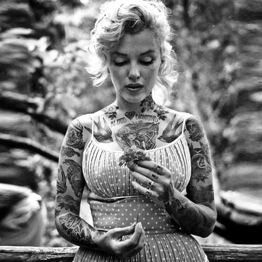 Мэрилин Монро, Marilyn Monroe, шайенн рэндалл, татуированные знаменитости, фотошоп, cheyenne randall, сиэтл