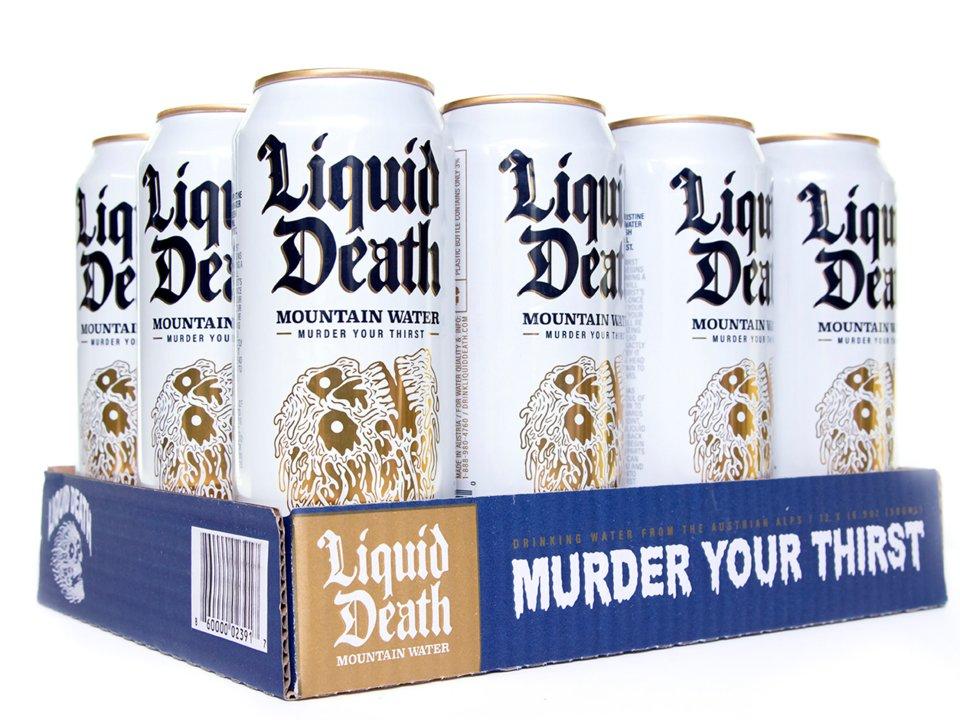 жидкая смерть, liquid death, питьевая вода, алюминиевая банка, панк, метал, маркетинг, субкультура
