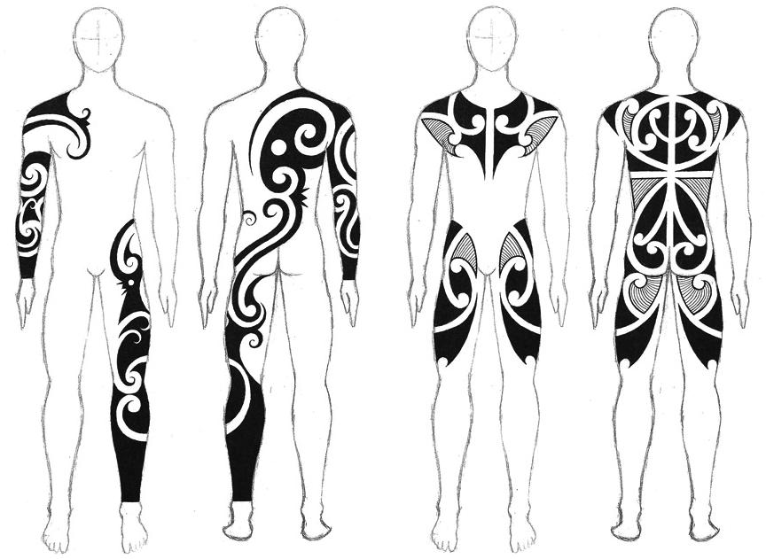 Taku Oshima: классические черно-белые трайбл-тату (эскизы)