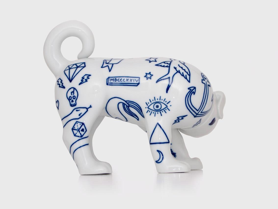 собака с татуировками, олдскул, португалия, бульдог, керамика, дизайнер, гонсало кампос, goncalo campos