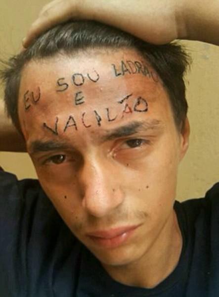 татуировка на лбу, татуировка-наказание, бразилия, eu sou ladrao e vacilao, я вор и неудачник, совсем не такой, уголовное преступление, татуировки уголовников