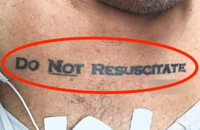 татуировка на груди, не реанимировать, скорая помощь, приемное отделение, do not resuscitate, пациент, смерть, реанимация