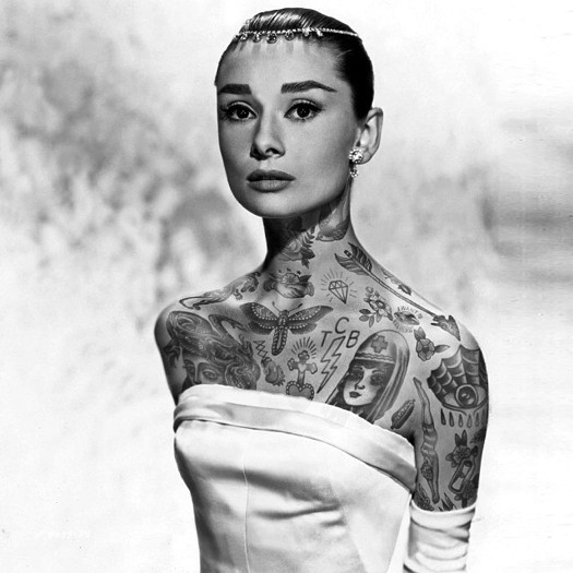 Одри Хепберн, Audrey Hepburn, шайенн рэндалл, татуированные знаменитости, фотошоп, cheyenne randall, сиэтл
