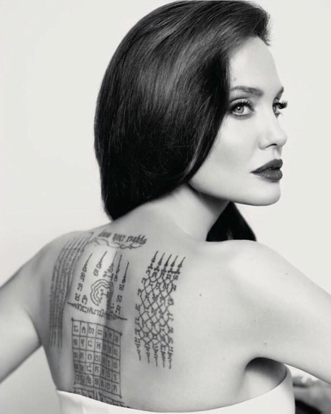 Анджелина Джоли, Сак Янт, Янтра, тайская татуировка, традиционные татуировки, мантры, буддистские письмена