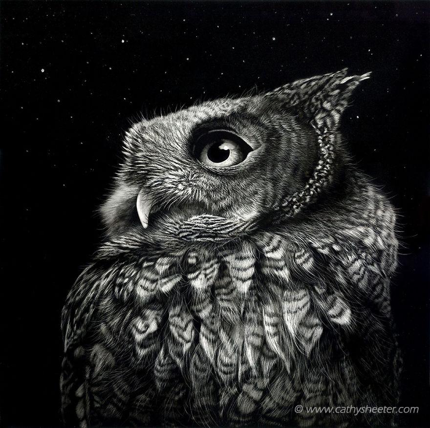 Кэти Шитерм, гиперреализм, скретчборд, иглы для татуировки, техника процарапывания, реалистичные изображения животных, сова, черная тушь
