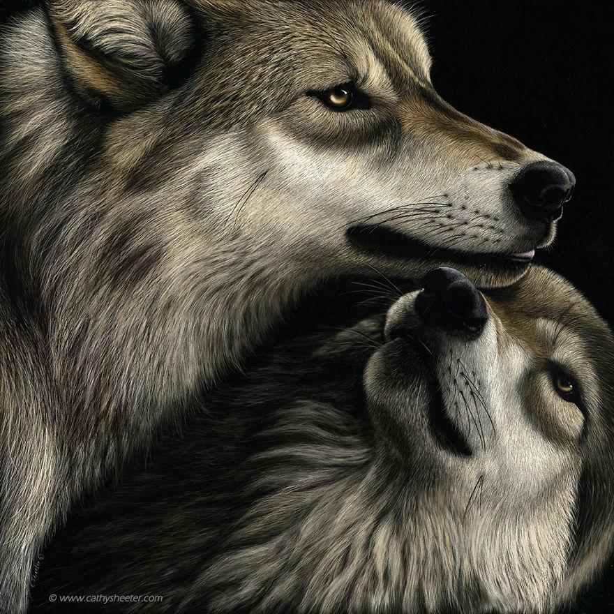 Кэти Шитерм, гиперреализм, скретчборд, иглы для татуировки, техника процарапывания, реалистичные изображения животных, волк, черная тушь