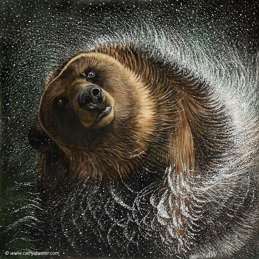 Кэти Шитерм, гиперреализм, скретчборд, иглы для татуировки, техника процарапывания, реалистичные изображения животных, медведь, черная тушь