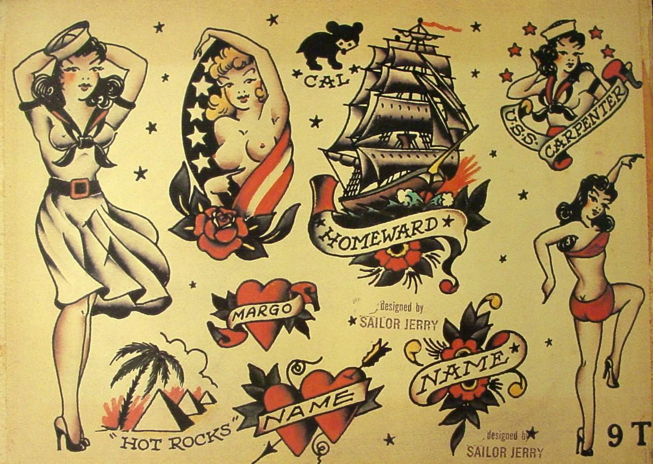 Эскизы татуировок от Сейлор Джерри - Девушки