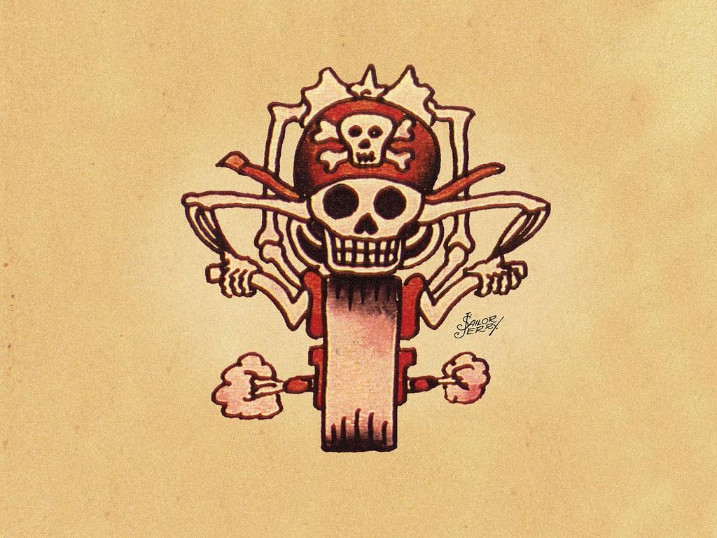 Эскизы татуировок от Сейлор Джерри - Мотоцикл
