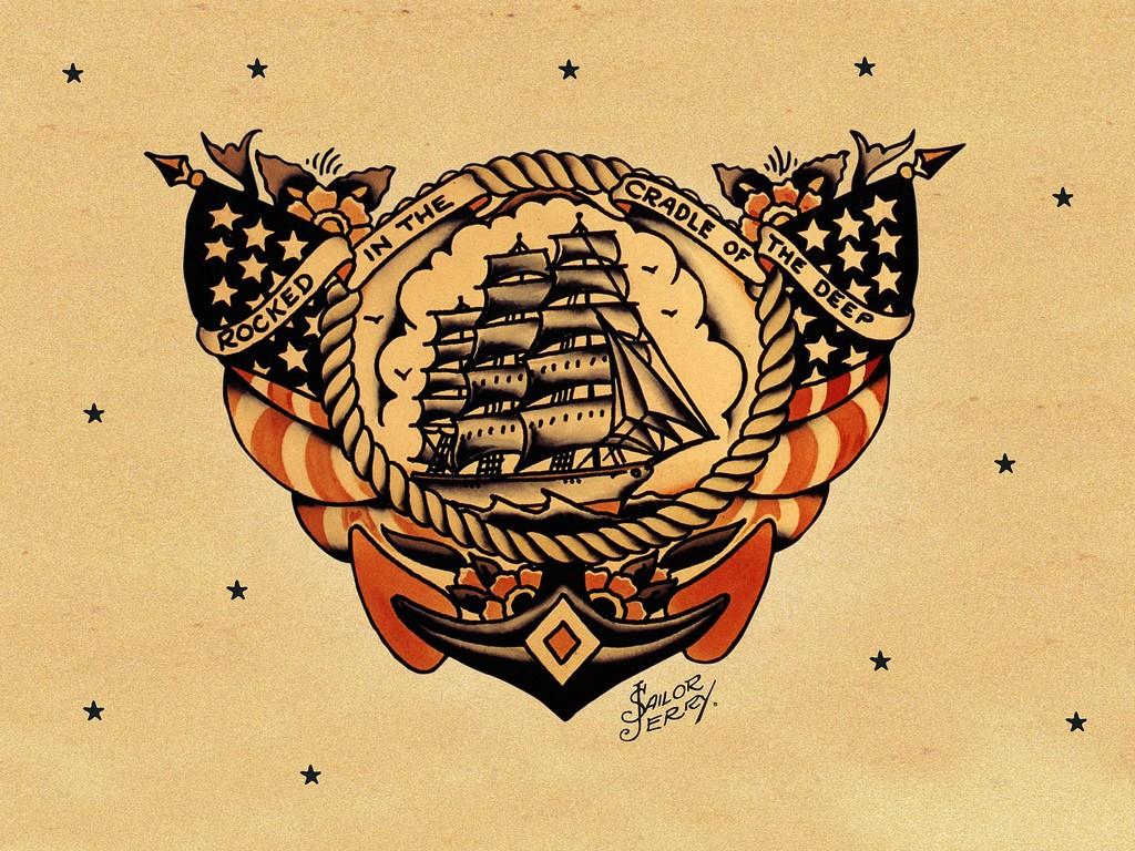 Парусник – эскиз татуировки Сейлор Джерри
