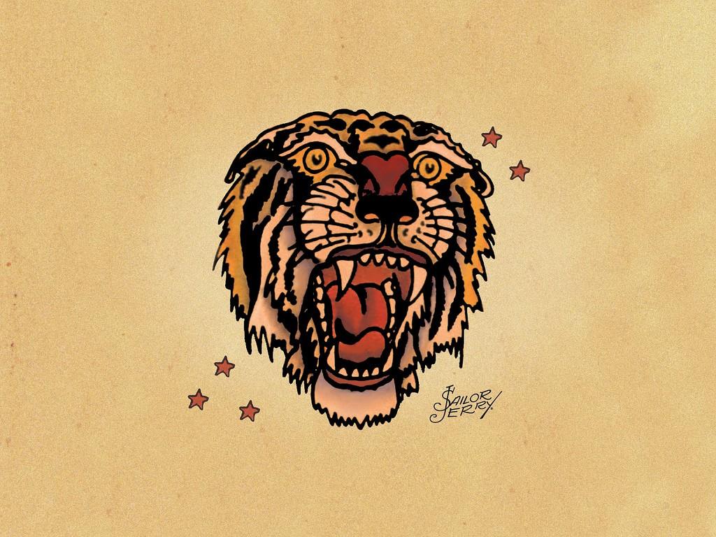Эскизы татуировок от Сейлор Джерри - Тигр