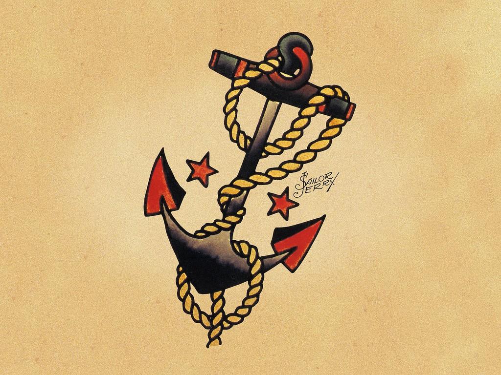 Эскизы татуировок от Сейлор Джерри - Якорь