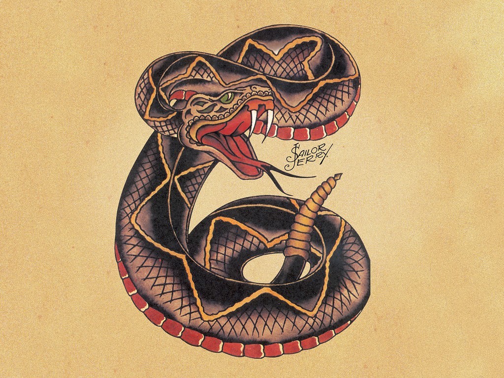 Эскизы татуировок от Сейлор Джерри - Змея