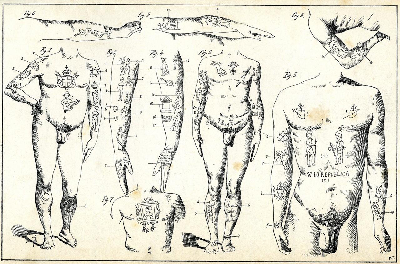 криминальные татуировки в рисунках Чезаре Ломброзо