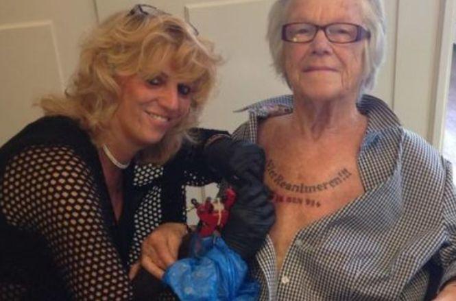 татуировка пенсионера на груди НЕ РЕАНИМИРОВАТЬ