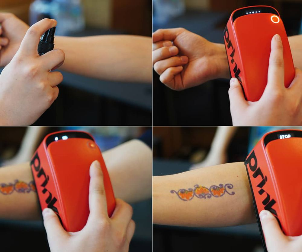 временные татуировки, сделанные принтером Prinker