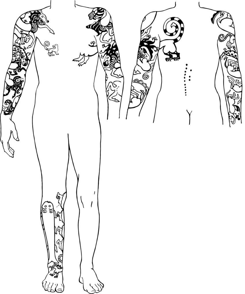 татуировки древних скифов из книги The Frozen Tombs of Siberia (С.И.Руденко, 1970)