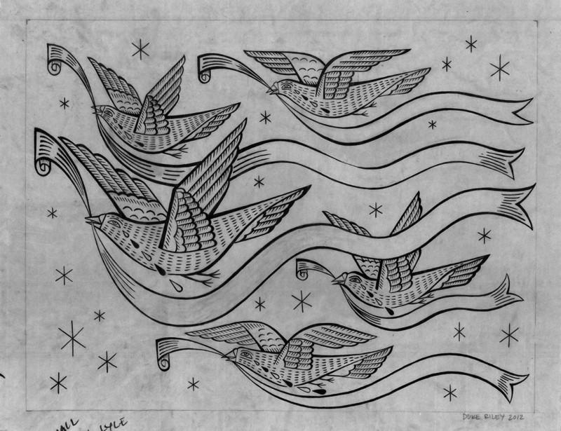 Дюк Райли - черно-белая графика на кальке