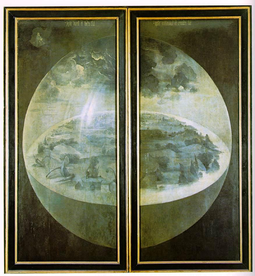 Иероним Босх, Сад земных наслаждений, триптих в закрытом виде, сфера