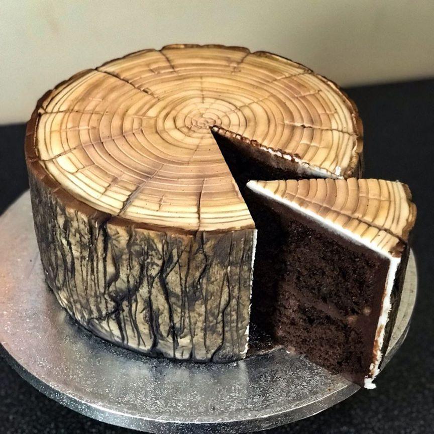 деревянный спил - дизайнерские торты от бывшего татуировщика по имени Бен Каллен (Ben Cullen)