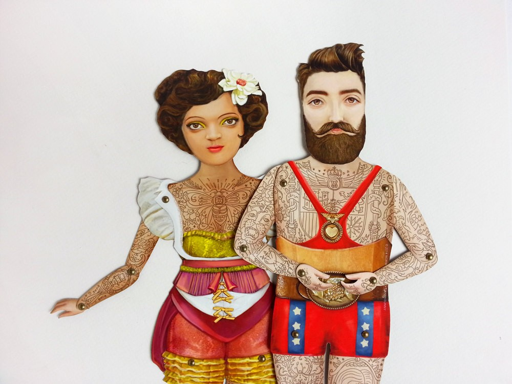 бумажные марионетки в татуировках