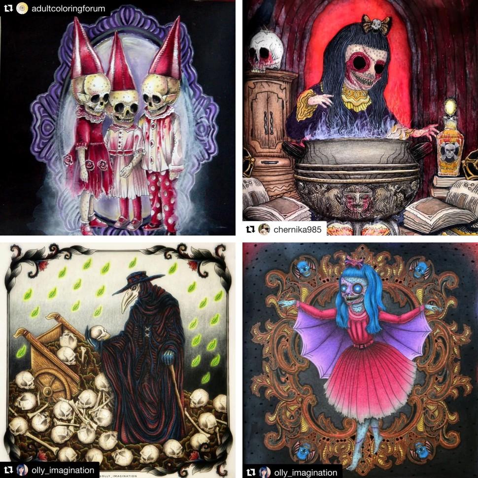 The Beauty of Horror, раскраски для взрослых, Life of Agony, ужастики