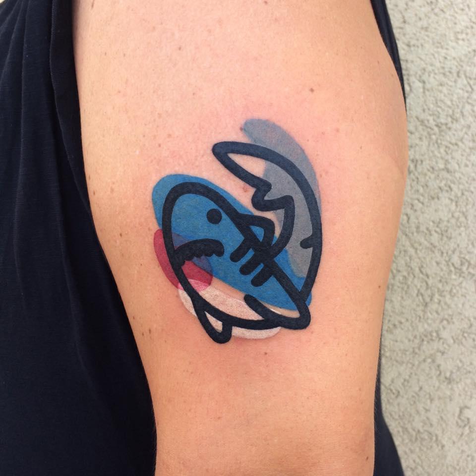 акула - татуировка destrutturato от Маттия Мамбо