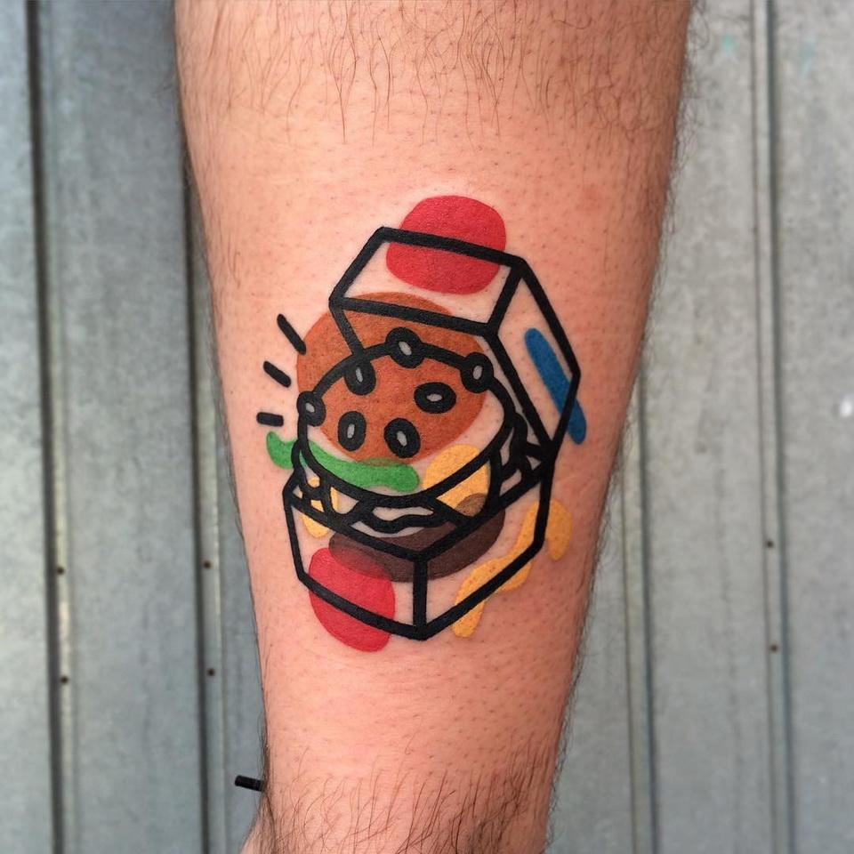 гамбургер - татуировки destrutturato от Маттия Мамбо